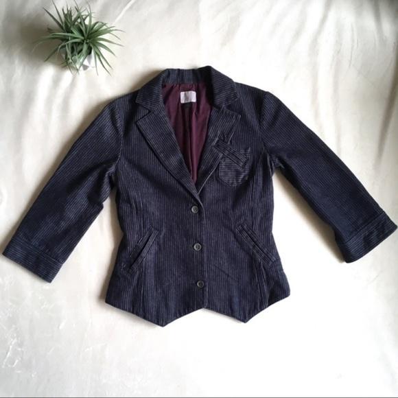 Volcom Jackets & Blazers - Volcom • Pinstripe Fitted Denim Cropped Blazer